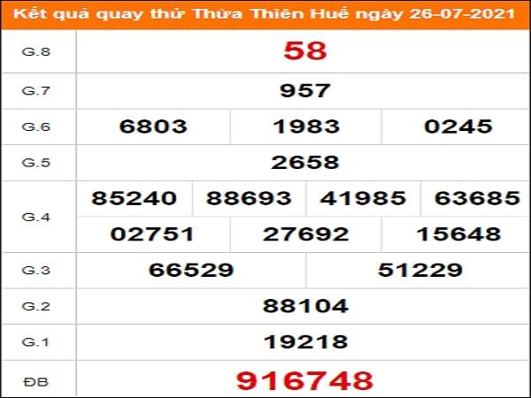 Quay thử xổ số Thừa Thiên Huế ngày 26/7/2021